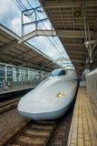 KYOTO, JAPAN - JULY 05, 2017: JR700 shinkansen bullet train departing Kyoto station in Kyoto, Japan.  Stock Image