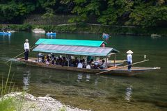 Kyoto, Japan - 24 July 2016. Katsura River in the Arashiyama area of Kyoto, Japan.  Stock Images