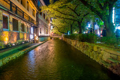 KYOTO, JAPAN - JULY 05, 2017: Kyoto, Japan at the Shirakawa River in the Gion District during the spring. Cherry blosson Royalty Free Stock Images