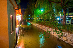 KYOTO, JAPAN - JULY 05, 2017: Kyoto, Japan at the Shirakawa River in the Gion District during the spring. Cherry blosson Stock Photos