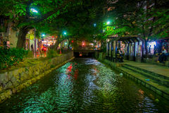 KYOTO, JAPAN - JULY 05, 2017: Kyoto, Japan at the Shirakawa River in the Gion District during the spring. Cherry blosson Royalty Free Stock Photography