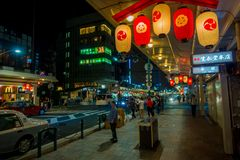 KYOTO, JAPAN - JULY 05, 2017: Night scene of tourists wondering around the narrow street of Gion DIstrict, Kyoto Royalty Free Stock Image