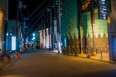 KYOTO, JAPAN - JULY 05, 2017: Night scene of tourists wondering around the narrow street of Gion DIstrict, Kyoto Royalty Free Stock Images