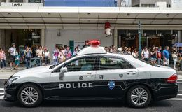 Kyoto, Japan - 24 July 2016. Police car at the Gion Matsuri festival at hot summer day in Kyoto. stock image