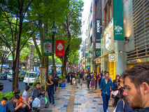 KYOTO, JAPAN - JULY 05, 2017: Unidentified people walking at day scene of tourists around the narrow street of Gion Stock Photo