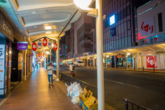 KYOTO, JAPAN - JULY 05, 2017: Unidentified people walking at night scene of tourists around the narrow street of Gion Royalty Free Stock Photo