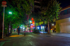 KYOTO, JAPAN - JULY 05, 2017: Unidentified people walking at night scene of tourists around the narrow street of Gion Stock Photos
