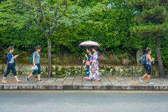 KYOTO, JAPAN - JULY 05, 2017: Unidentified people walking in a path at beatiful bamboo forest at Arashiyama, Kyoto Royalty Free Stock Photography