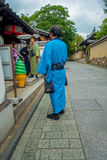 KYOTO, JAPAN - JULY 05, 2017:Unidentified people walking in a small city to visit the beautiful view of Yasaka Pagoda Royalty Free Stock Image