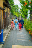 KYOTO, JAPAN - JULY 05, 2017: Unidentified people walking in a small city to visit the beautiful view of Yasaka Pagoda Stock Photography