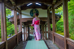 KYOTO, JAPAN - JULY 05, 2017: Unidentified woman walking through the Hojo Hall of Tenryu-ji in the Arashiyama district. Of Kyoto, Japan Stock Photo