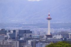 Kyoto Japan, June 2014,  Kyoto tower during the day royalty free stock photos