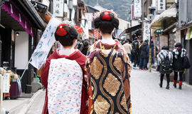 Kyoto, Japan - March 2015 - Geisha wears traditional clothes wit Stock Photos