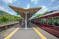 KYOTO, JAPAN - MAY 16  The Arashiyama train station on May 16, 2014 in Arashiyama, Kyoto, Japan  Arashiyama is well known place. The Arashiyama train station in Royalty Free Stock Images