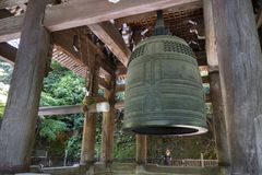 Kyoto, Japan - May 19, 2017: Japan`s largest temple bell, locate. Kyoto, Japan - May 19, 2017: Japan`s largest ancient temple bell, located at Chion-in stock images