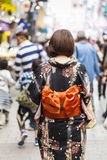 KYOTO, JAPAN - MAY 01, 2014: Japanese women wear a traditional d Royalty Free Stock Images