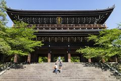 Kyoto, Japan - May 18, 2017: Sanmon Gate to the Chion in temple Royalty Free Stock Photo