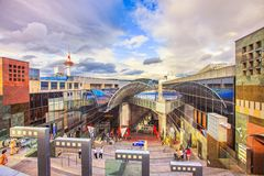 KYOTO / JAPAN - MAY 26, 2010: Panoramic view of modern Kyoto rai. Lway station. It is one of the country`s largest buildings, incorporating a shopping mall Royalty Free Stock Image