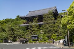 Kyoto, Japan - May 18, 2017: Sanmon Gate to the Chion in temple Stock Photos
