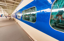 KYOTO, JAPAN - MAY 30, 2016: Shinkansen train inside Railway Mus Stock Photos