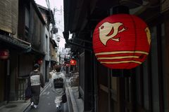 Kyoto, Japan - May 17, 2017: Small street in Kyoto center with w stock photography