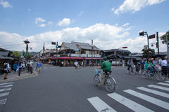 KYOTO, JAPAN - MAY 16  The Togetsukyo junction on May 16, 2014 in Arashiyama, Kyoto, Japan  Arashiyama is well known as a pure env Stock Image