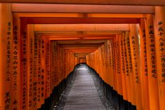 Kyoto, Japan - May 9, 2017: Torii gates at Fushimi Inari Taisha Royalty Free Stock Photo