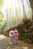 KYOTO, JAPAN - MAY 16  Two Kimono girls at The Arashiyama Bamboo forest on May 16, 2014 in Arashiyama, Kyoto, Japan  Arashiyama is Stock Photography