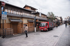 KYOTO, JAPAN - NOV 25: Japanese house in Gion district on Novemb Royalty Free Stock Photos