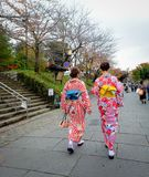 Women wear Japanese kimono on street. Kyoto, Japan - Nov 20, 2016. Japanese women wearing traditional dress Kimono on the historic street in downtown of Kyoto stock images