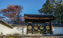 Wooden gate of Shinto Shrine in Kyoto royalty free stock photos