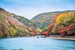 Arashiyama. Kyoto, Japan - November 23, 2018: Arashiyama and Katsura river is the famous destination for tourist in autumn of japan. Many tourists come to see royalty free stock images