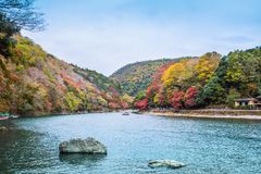 Arashiyama. Kyoto, Japan - November 23, 2018: Arashiyama and Katsura river is the famous destination for tourist in autumn of japan. Many tourists come to see stock photo