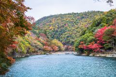 Arashiyama. Kyoto, Japan - November 23, 2018: Arashiyama and Katsura river is the famous destination for tourist in autumn of japan. Many tourists come to see stock images