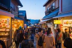 KYOTO, JAPAN - NOVEMBER 17, 2017 :Crowds of people at the shoppi. Ng street along the way to Kiyomizudera Temple in Kyoto, Japan Royalty Free Stock Images
