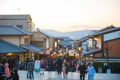 KYOTO, JAPAN - NOVEMBER 17, 2017 :Crowds of people at the shoppi. Ng street along the way to Kiyomizudera Temple in Kyoto, Japan Stock Photos
