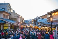 KYOTO, JAPAN - NOVEMBER 17, 2017 :Crowds of people at the shoppi. Ng street along the way to Kiyomizudera Temple in Kyoto, Japan Royalty Free Stock Photo