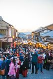 KYOTO, JAPAN - NOVEMBER 17, 2017 :Crowds of people at the shoppi. Ng street along the way to Kiyomizudera Temple in Kyoto, Japan Stock Image