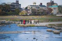 Kamogawa river stock photo