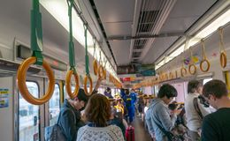 Interior shot of a normal train ride in Kyoto, Japan. KYOTO, JAPAN-NOVEMBER 11, 2018 : Interior shot of a normal train ride in Kyoto, Japan stock image