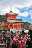 Kiyomizu-dera Buddhist Temple West Gate in Kyoto, Japan. Kyoto, Japan -November 2, 2018: Kiyomizu-dera Buddhist Temple West Gate on a beautiful morning, in Gion royalty free stock photography