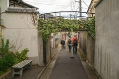 Back street with a cross passage in Gion, Kyoto. Kyoto, Japan -November 2, 2018: People walking on the back streets of Gion District with growing vegetation on stock photography