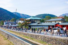 Kyoto, Japan - November 17, 2017: People walking on the street i. N Arashiyama town, Kyoto, Japan Royalty Free Stock Photo