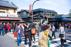 Kyoto, Japan - November 17, 2017: People walking on the street i. N Arashiyama town, Kyoto, Japan Royalty Free Stock Photos