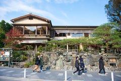 Kyoto, Japan - November 17, 2017: People walking on the street i. N Arashiyama town, Kyoto, Japan Stock Image