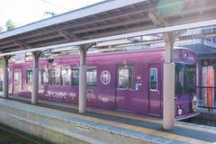 Kyoto Japan - November 17, 2017: Randen Arashiyama station i A Royaltyfria Foton