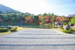 Kyoto, Japan - November 17, 2017 :Tourists enjoy travel to Sogen. Chi pond garden in autumn season at Tenryuji temple, Kyoto, Japan Royalty Free Stock Image
