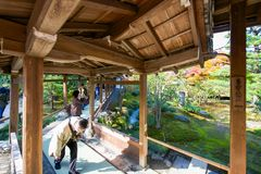 Kyoto, Japan - November 17, 2017 :Tourists visit Tenryuji temple. Is the famous zen temple in Kyoto, Japan Stock Image