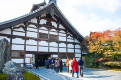 Kyoto, Japan - November 17, 2017 :Tourists visit Tenryuji temple. Is the famous zen temple in Kyoto, Japan Stock Photos
