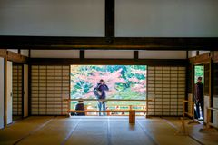 Kyoto, Japan - November 17, 2017 :Tourists visit Tenryuji temple. Is the famous zen temple in Kyoto, Japan Stock Photography